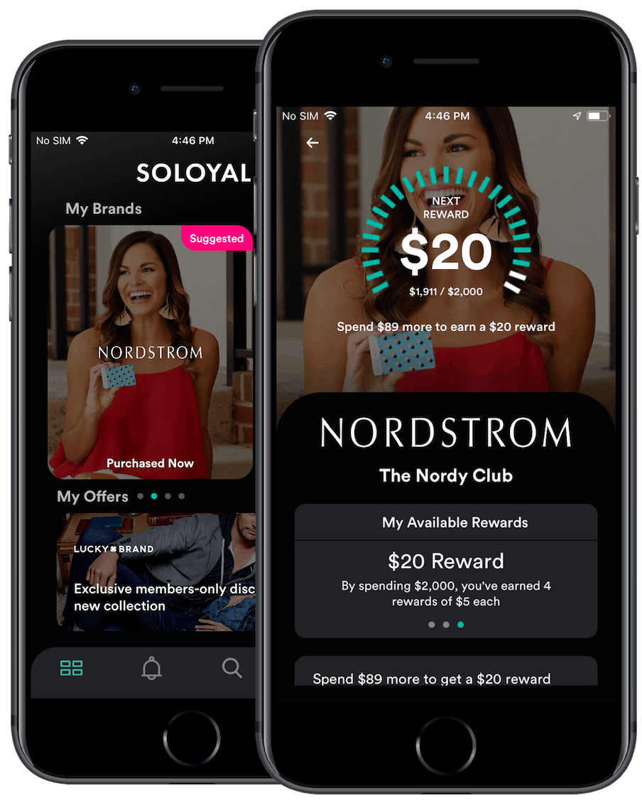 The SoLoyal app dashboard showing linked and tracked loyalty programs and offers from brands, next to Nordstrom's brand page.