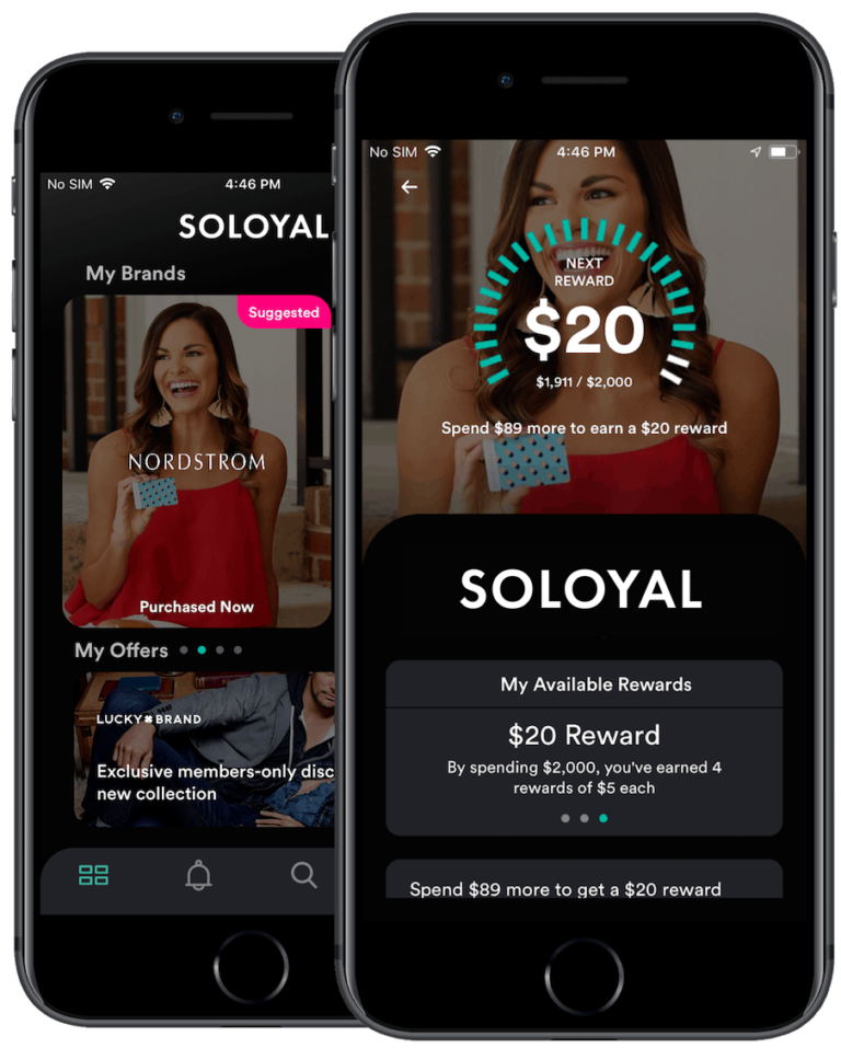 SoLoyal's loyalty program page showing a brand linked to the SoLoyal app, counting the number of rewards points the user has earned.